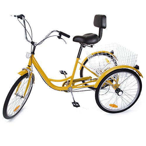 "Iglobalbuy Yellow 24"" 6-Speed 3 Wheel Adult Bicycle Tricycle Trike Cruise Bike"