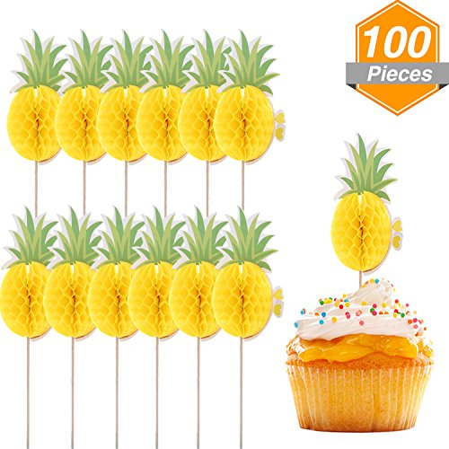 Luau Party Picks - Gejoy 100 Pieces 3D Tropical Pineapple Cupcake Toppers Food Picks for Cocktail Luau Hawaii Party Decoration Supplies