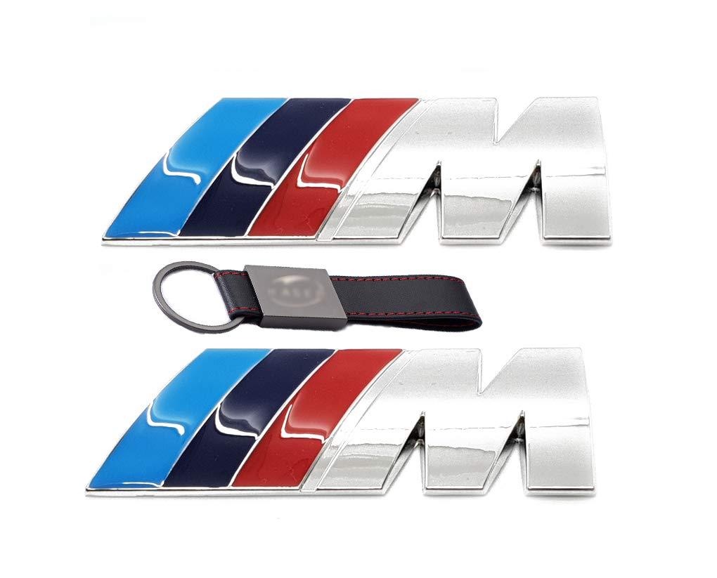 Lato Ala Badge Emblema per BMW M3 M4 M5 E46 E36 E90 E60 E87【 AUMEN 2X Set Stemma Fregio M Sport 3D Cromato 45 * 15mm Portachiavi Pelle】