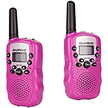 BYBOO Baofeng T3 Kids Walkie Talkies Mini Two Way Radios for Boys Girls Children UHF 462-467MHz Frquency 22 Channels - 1 Pair Pink