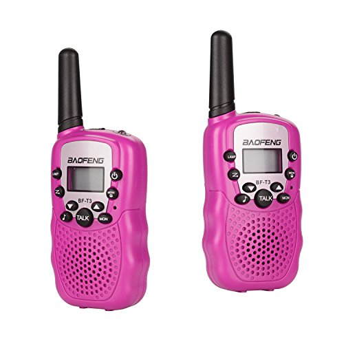 BYBOO Baofeng T3 Kids Walkie Talkies Mini Two Way Radios for Boys Girls Children UHF 462-467MHz Frquency 22 Channels - 1 Pair Pink (Toys For Girls Ages 3 And Up)