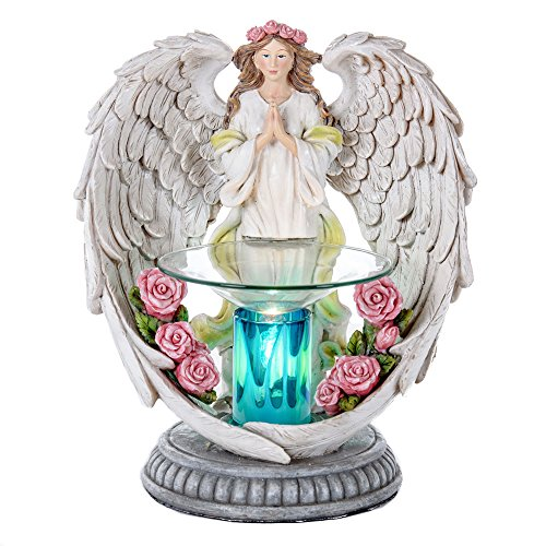Angel Poly Resin Electric Candle Warmer - Essential Oil Burner - Scented Aromatherapy Oils Warmer - Glass Dish and Poly Resin Warmer Kit Set - Fragrance Diffuser