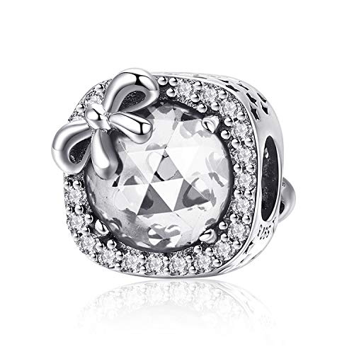 MUERDOU Birthstone Charm for Pandora Charms Bracelet 925 Sterling Silver Bowknot Birthday Crystal Charms for Bracelet and Necklace (April) (Crystal Pandora Charms)