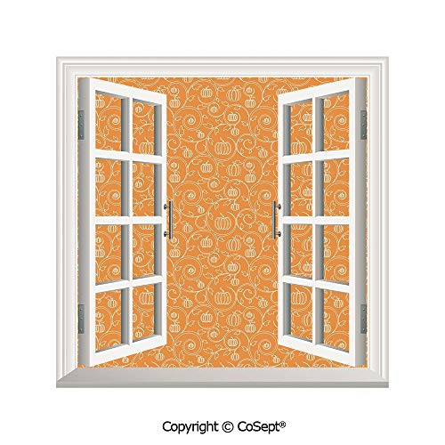 SCOXIXI Open Window Wall Mural,Pattern with Pumpkin Leaves and Swirls on Orange Backdrop Halloween Inspired,for Living Room(26.65x20 inch) ()