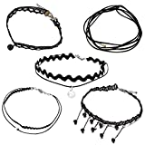 Cherisherre Women's Chockers Necklace,Black Choker Necklace Set Velvet Necklace Collar Necklace for Women Girls(5 Pcs) (01)