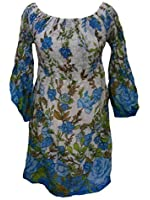 100% Cotton Long Floaty Longsleeve Christine Blue & White Flower Print Top - Fairtrade