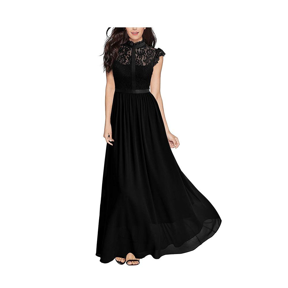 Black Dress, Women's Cocktail Formal Swing European and American Long Lace Dress Dress Sleeveless Slim Business Pencil (color   bluee, Size   XL)