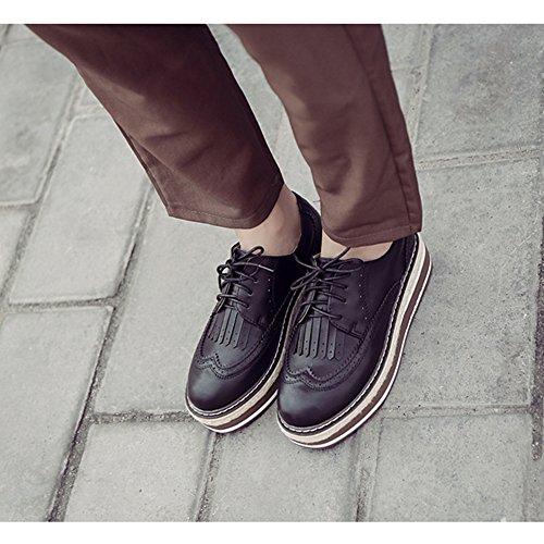 T-juli Kvinna Mode Oxfords Skor - Bekväma Perforerade Spets-up Tjock Sula Rund Tå Skor Svarta
