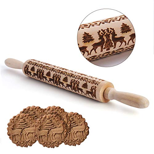 firstfly Christmas Wooden Rolling Pins, Wood Engraved Embossing Rolling Pin with Christmas Deer Pattern for Baking Embossed Cookies, Rolling Pin Kitchen Tool (Tree)
