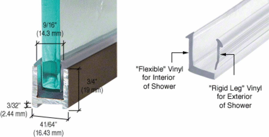 CRL Oil Rubbed Bronze Dry Glaze U-Channel With Vinyl - 98 in long