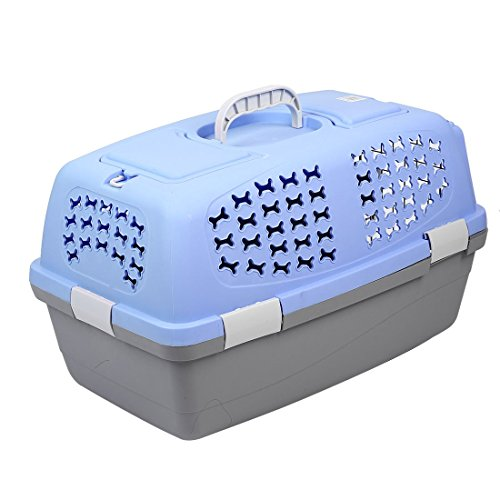 DealMux Plastic Outdoors Travel Meshy Transport Cages Airways Box Pet Carrier 59x38x38cm Blue by DealMux (Image #2)