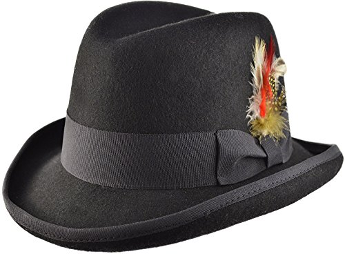 Black Wool Felt Classic Homburg Godfather / Churchill Hat in 4 Sizes (Small - - Size 55 Hat