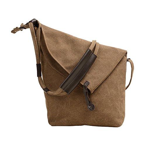VRIKOO Men's Canvas Cross-Body Shoulder Bags Vintage Hobo Messenger Bag Unisex School Satchel Brown