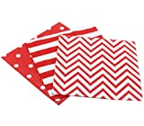 Youmewell Disposable Napkins Striped Chevron Polka Dot Red Paper Lunch Napkins 60 Count price