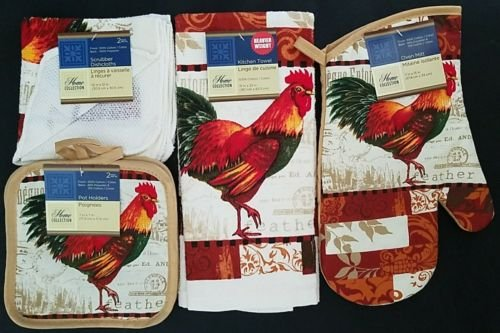 The Pecan Man COLORFUL FEATHER ROOSTER Everyday Decor Kitchen Set of 6, 1 OVEN MITT & 2 Pot Holders & 2 Dish Cloths & 1 Kitchen Towel
