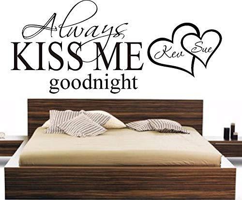 EvelynDavid Custom Made Personalized Names Always Kiss Me Goodnight Heart Wall Vinyl Sticker Bedroom Vinyl Vinyl Decor You Choose