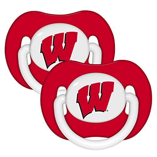 Wisconsin Badgers Red Infant Pacifier Set (2) - 2015 NCAA Baby Pacifiers by Baby - Wisconsin Malls Shopping