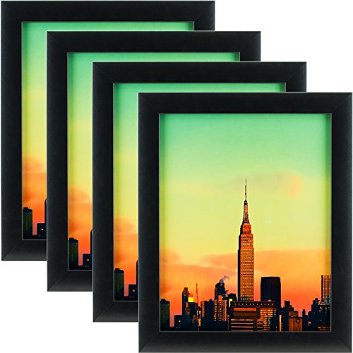 Craig Frames 1WB3BK 8.5 by 11-Inch Picture Frame 4-Piece Set, Smooth Finish, 1-Inch Wide, Black by Craig Frames