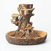 NCYP Forest Fairy Garden Miniature Stump Sweet House Flower Pot Treehouse Sculpture Planter Multilayer for Decoration
