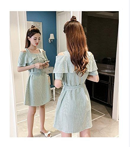 Vert Robes 6626 Ladies' XL Ceinture d't MiGMV Robe paules Une Jupe Robe Bow Slim aUWwq4