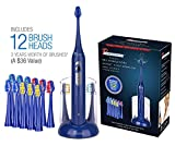 Cheap Pursonic S420 High Power Rechargeable Electric Sonic Toothbrush with 12 Brush Heads & Storage Charger, Blue