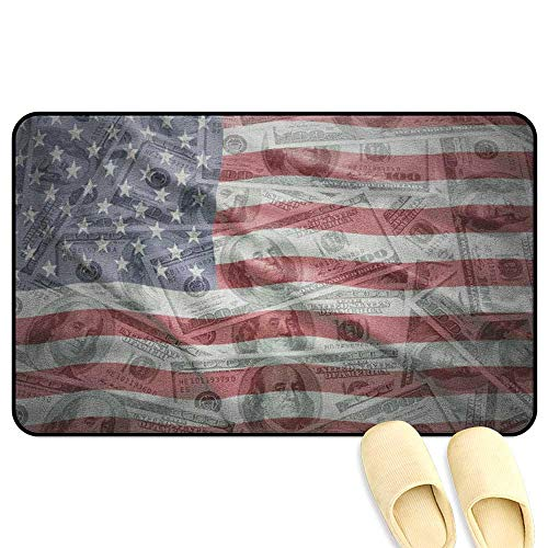 American Flag Microfiber Absorbent Bath Mat American Dollar on Flag Money Currency Exchange Value Global Finance Idol Multicolor Hard Floor Protection W24 x L35 INCH ()