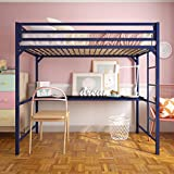 DHP Miles Metal Loft Bed with Desk, Blue, Twin