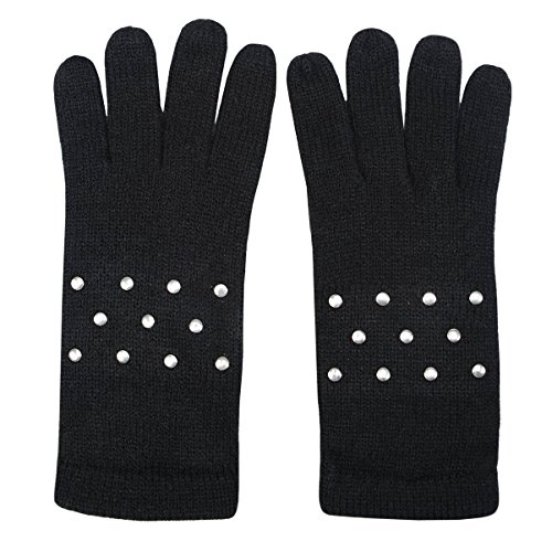Studded Black Gloves (Womens Black Knit Studded Gloves with Flat Silver Tone Studded Details)