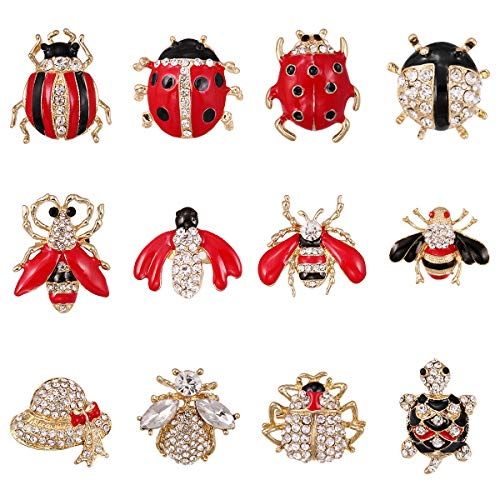 WeimanJewelry Lot 12pcs Enamel Crystal Rhinestone Animal Honeybee Beetle Turtle Insect Brooch Pin Set for Women DIY Decoration