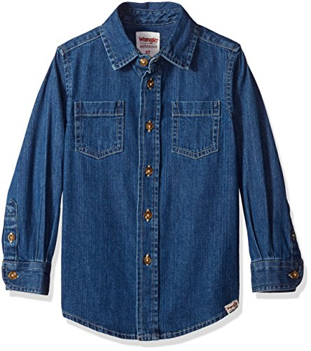 Wrangler Authentics Boys' Long-Sleeve Denim Shirt, mid wash ()