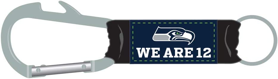 One Size Pro Specialties Group Seattle Seahawks We are 12 Tagline Carabiner Keychain with Buildin Bottle Opener Blue