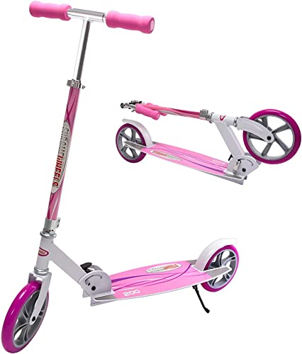 ChromeWheels Kick Scooter, Deluxe 8 Large 2-Wheels Wide Deck 5 Adjustable Height with Kickstand Foldable Freestyle Pro Scooters, Best Gift for Age 6 up Kids Girls Boys Teens, 200lb Weight Limit, Pink