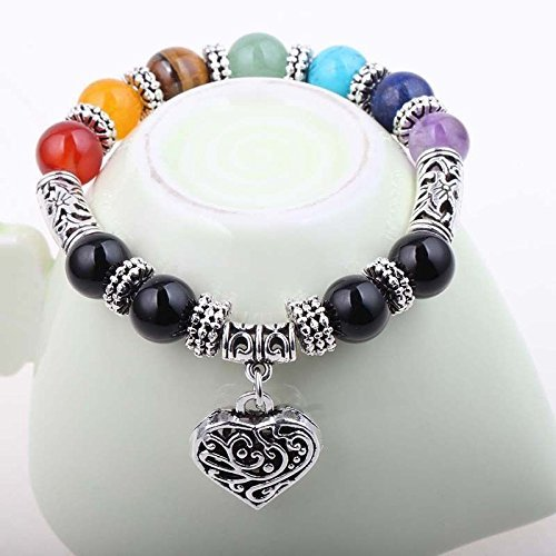 Jewelry Chic Retro 7 Chakra Healing Yoga Reiki Prayer Bead Bracelet Buddha Head Bracelet