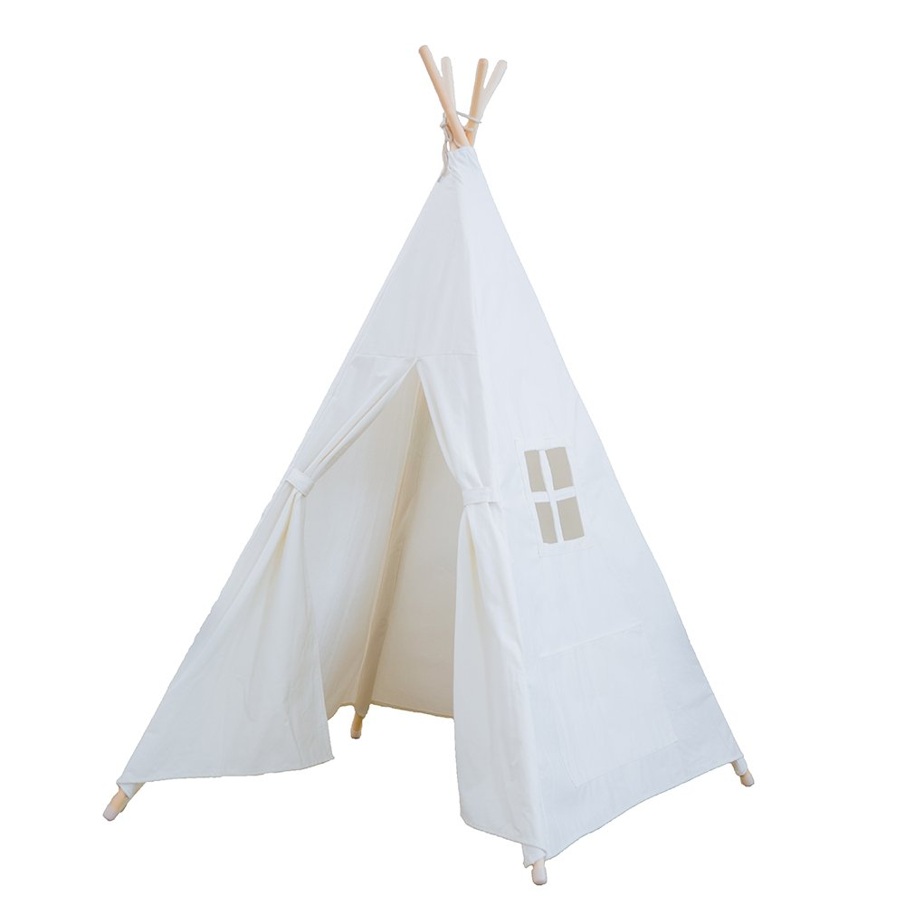 RONGFA Kid's Foldable Teepee Play Tent, One Four Ploes Style, White