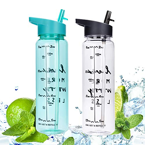 ZOORON Motivational Water Bottle with Time Marker and Measurements, 30oz BPA Free Sport Water Bottle with Straw for Outdoors Sports Camping Hiking Cycling (2Pack-Green+Gray)