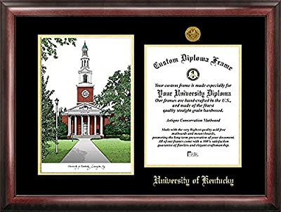 University of Kentucky Embossed Gold Foil Seal Graduate Diploma Frame with Imprinted Lithograph - 2017 Graduation Diploma Frame