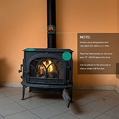 Magnetic Stove Pellet Stove Stoves TIEMORE Oven Temperaturer Wood Stove Thermometer for Wood Burning Stoves Top Gas Stoves Flues
