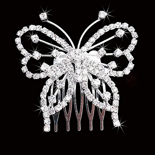 Botrong Hair Side Combs, New Fashion Women Elegant Butterfly Crystal Rhinestone Hair Comb Clip - Elegant Butterfly Rhinestones
