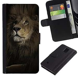 """Be-Star la tarjeta de Cr¨¦dito Slots PU Funda de cuero Monedero caso cubierta de piel Para Samsung Galaxy Note 4 IV ( Le¨®n Mane Poderoso Rey Animal Negro"""" )"""