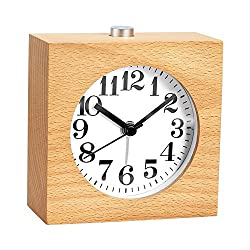 WAYCOM Wood Alarm Clock Square Exquisite Silent Mute Table Snoose Small Wooden Clock with Nightlight