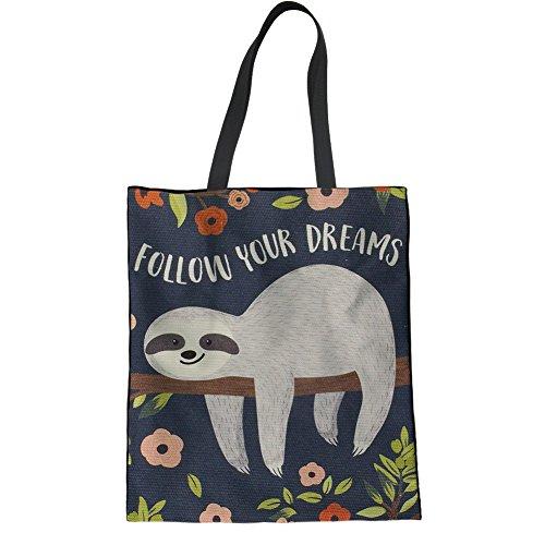 HUGS IDEA Sloth Canvas Tote Bag Cute Animals Cartoon Heavy Duty Shopping Travel Beach Bags ()