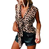 Women Leopard Vest, Sexy Sleeveless V-Neck Bow Printed Loose Fitting Shirts Tank Tops Party T-Shirt (XXL, Brown)