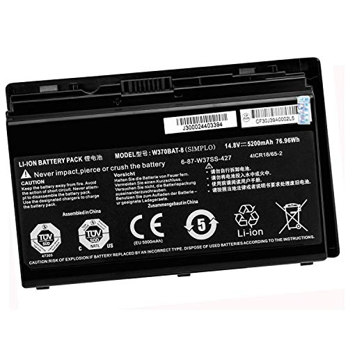 Battery Pc Tablet Rechargeable (14.8V 5200mAh W370BAT-8 6-87-W37SS-427 6-87-W370S-427 6-87-W37ES-427 W370BAT-3 Laptop Battery Replacement For CLEVO P370EM W370 W370SS W355SS W350ET W350ET W350ETQ Tablet Computer Rechargeable Battery)