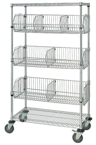 Unit Dispensing Mobile (Quantum Storage Systems M1836BC6C 5-Tier Mobile Wire Basket Unit with 3 Baskets, Chrome Finish, 18