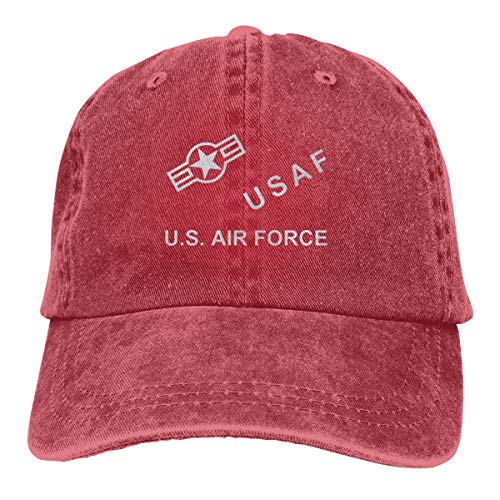 Rigg-cap USAF Roundel Adjustable Jogging Cotton Washed Denim Hat Red ()
