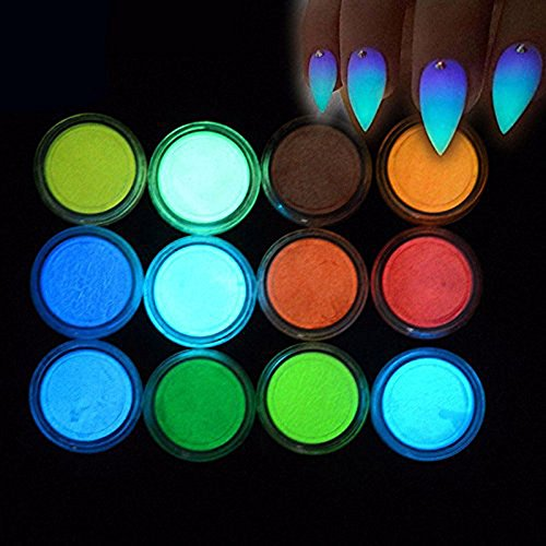 MEILINDS Fluorescence Pigment Ultrafine Glitter Glow Powder Nail Art Dust Luminous Decor Tip Beauty Tool 12 Colors by MEILINDS