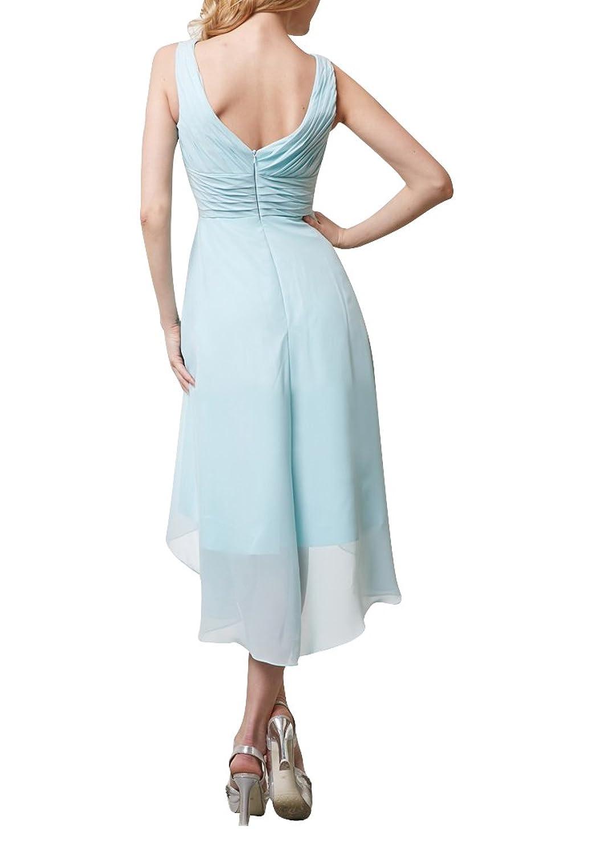 Hanxue Sleeveless Double-V Party Dress Hi-Lo Formal Bridesmaid ...