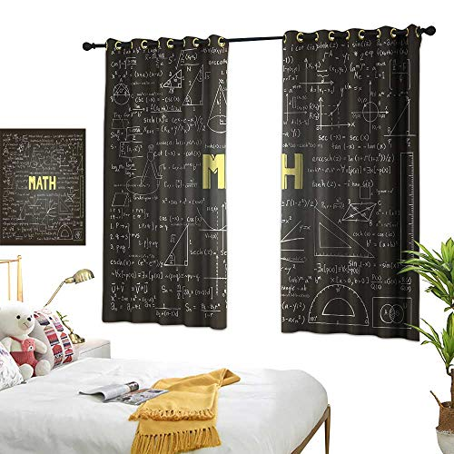 LsWOW Bedroom Curtains W72 x L45 Mathematics Classroom Decor,Dark Blackboard Word Math Equations Geometry Axis,Dark Brown White Yellow Thermal Insulated Blackout Curtains]()