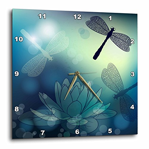 Translucent Shimmering Blue Dragonflies & Wall Clock