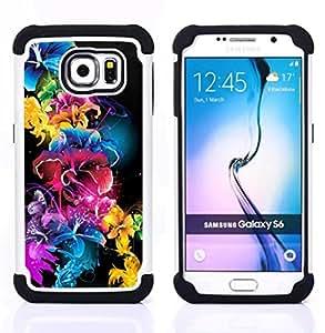 """Pulsar ( Vivid Color Negro Azul Rosa"""" ) Samsung Galaxy S6 / SM-G920 SM-G920 híbrida Heavy Duty Impact pesado deber de protección a los choques caso Carcasa de parachoques [Ne"""